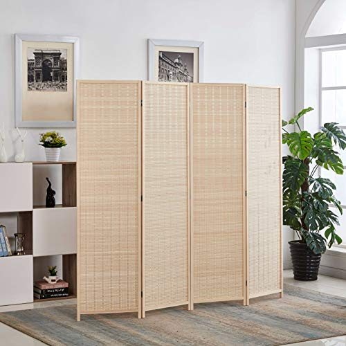 RHF 6 ft.Tall Bamboo Room Dividers, 4 Panel Room Divider/Screen, Folding Privacy Screen Room Divider, Decorative SeparationWall Divider,Room Partitions/Separator/Dividers,Freestanding,Bamboo - 4 Panel