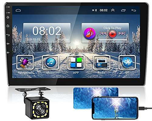 Hikity 2 din Android Autoradio con Bluetooth 9 pollici Tattile Schermo AM FM Auto Stereo GPS Navigazione WiFi Collegamento dello Specchio + Doppio Ingresso USB & 12 LED Macchina fotografica di backup