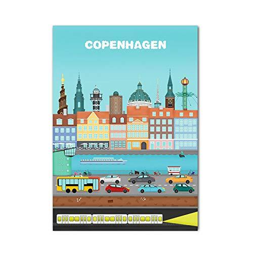Puzzle De 1000 Piezas Para Adultos,Copenhague Arquitectura Urbana Cartel Rompecabezas De Madera, Diy Personalizado Juego De Rompecabezas De La Familia, Adolescentes Niños Alivio De Estrés Creativo D