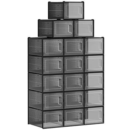 SONGMICS Boîtes à Chaussures, Lot de 18, Rangement Chaussures, Organisateur, Pliable, empilable, pour Pointure Jusqu'à 44, Transparent et Noir LSP007T18