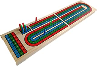 YH Poker Traditional Wooden Cribbage Board Game Set,3-Track Layout & Plastic Pegs with Two Free Decks of Playing Cards