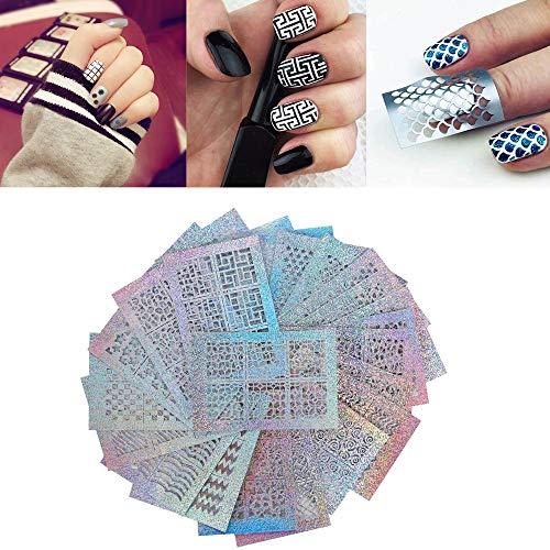 Nail Sticker Fil Bandes Autocollants à ongle Watermark Sticker Autocollant Ongle Nail Art Mat Laser Série de Mode,24 Pcs jkhhi