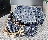 Ebros Gift Norse Mythology Thor Mjolnir Hammer Vegviser Magical Talisman Compass Jewelry Trinket Box Figurine 5