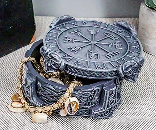 Ebros Gift Norse Mythology Thor Mjolnir Hammer Vegviser Magical Talisman Compass Jewelry Trinket Box Figurine 5' L As Viking Old Gods Odinson Norselandic Decor Statue Small Storage Container