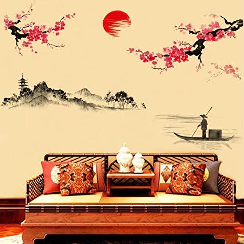 PMSMT Decoración de la Etiqueta de la Pared de la decoración del árbol de la Flor de Cerezo Rosa Japonesa de Sakura del Estilo Chino