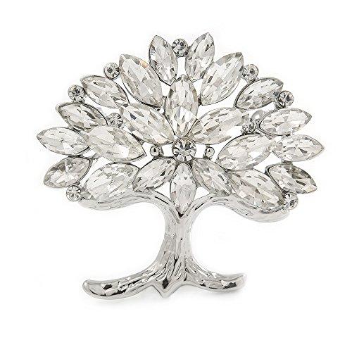 Avalaya Clear Crystal Tree of Life Brooch in Rhodium Plating - 45mm