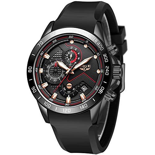 LIGE Herren Uhr Chronograph Analogue Quartz Wasserdicht Business Schwarz/Blau Zifferblatt Armbanduhr mit Silikon Armband