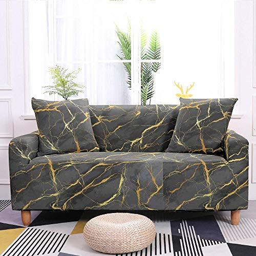 Fundas Sofas 3 y 2 Plazas Ajustables Patrón De Mármol Gris Fundas Sofá,Universal Funda Cubre Sofas Ajustables, Antideslizante Protector Cubierta de Muebles(195-230cm)
