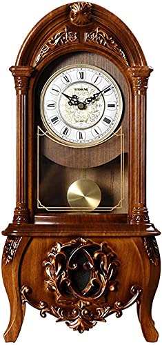 Reloj de Pared Péndulo QOHG con batería de Madera Cuarzo Reloj de Madera silencioso - Péndulo de Reloj de Pared Decorativo de Madera Oscura Péndulo