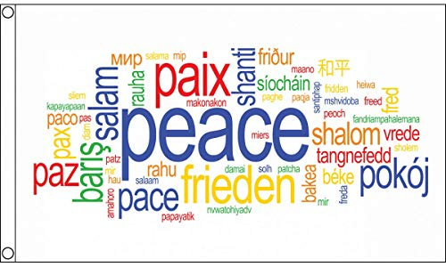AZ FLAG Peace Words Flag 3' x 5' - Paix Pace Paz Frieden Flags 90 x 150 cm - Banner 3x5 ft