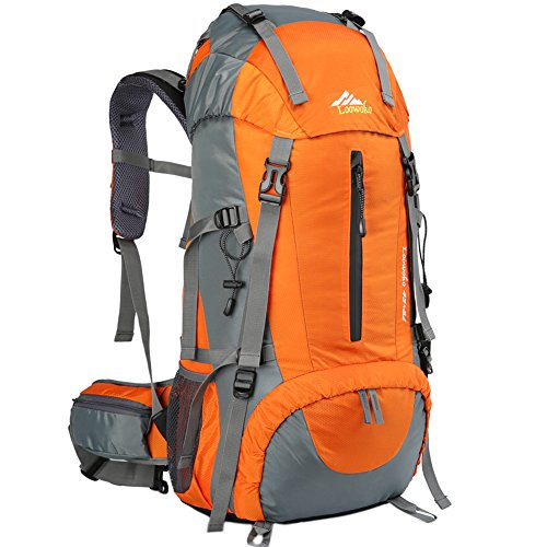 Hiking Backpack 50L Travel Daypack Waterproof with Rain Cover for Climbing Camping Mountaineering by Loowoko(Orange)