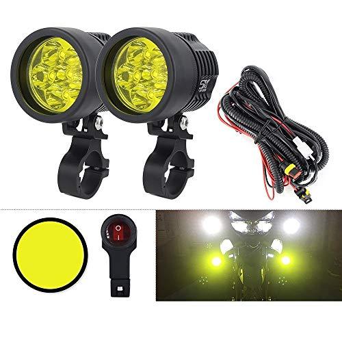 Motorradscheinwerfer Doppelfarben Motorrad-Frontscheinwerfer Zusätzliche Nebelscheinwerfer Universal-Motorrad-LED-Lampe Spot-Fahrlichter Mit Hoher Helligkeit