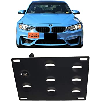 XtremeAmazing Front Bumper Tow Hook License Plate Mount Bracket Holder Bolt Adapter Relocation Kit