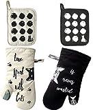 Set di 4 guanti da forno e presine in cotone grigio con stampa gatti Nero Avorio 4 confezioni