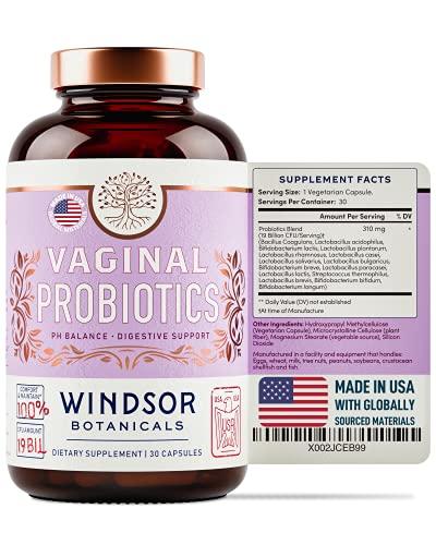 Vaginal Probiotics for Women - Windsor Botanicals One Per Day for Complete Feminine Health Care and a Balanced Vaginal Flora - 19 Bil CFU - 30 Non-GMO, Gluten-Free, Vegetarian Supplement Capsules