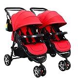 Passeggino Gemellare Passeggino Rimovibile Per Neonati Può Sedersi E Sdraiarsi Leggero Trolley Pieghevole Rosso