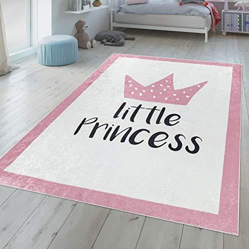 TT Home Cameretta dei Bambini Tappeto Lavabile Bambine Design Corona con Massima Pastello Rosa Bianco, Größe:80x150 cm
