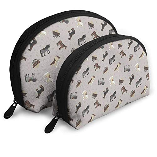 Make-Up Bag Horse Art Pattern Travel Makeup Pencil Pen Case Multifunction Storage Portable - 2 Piece Set