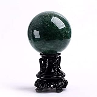 Healing Crystal Sphere Natural Green Strawberry Crystal, Crystal Ball,Rare Green Power Stone Ball for Crystal Healing, Med...
