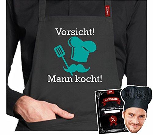 Rôtissoire.Tablier Hariz® de barbecue #Grill de la collection premium ; 24 motifs au choix ; noir, tablier avec certificat & toque, cadeau. #Grill07: Vorsicht ! Mann Kocht !