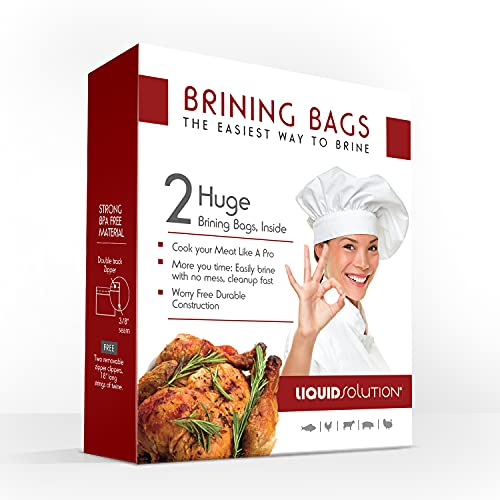 New and Improved Liquid Solution Turkey Brining Bags - No BPA - Heavier Duty Materials - Thicker Seams - Gusseted Bottom - Double Track Zippers - Extra Large - Set of 2, 21.5 x 25.5 in Each