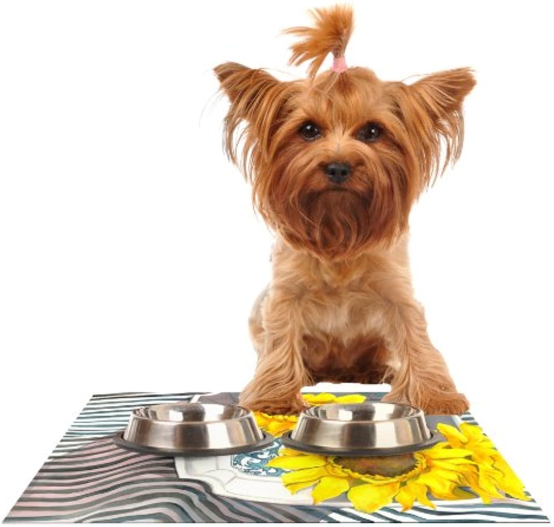 Kess InHouse S. Seema Z Finall Sunflower  Yellow Flower Feeding Mat for Pet Bowl, 18 by 13Inch