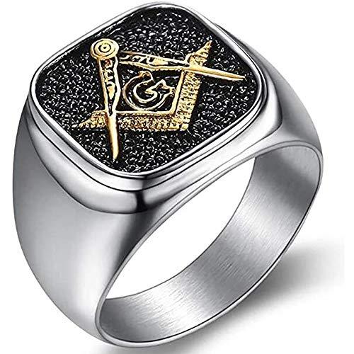LH&BD Anillo Masónico Freemason Masonic Freemason,Oro,9