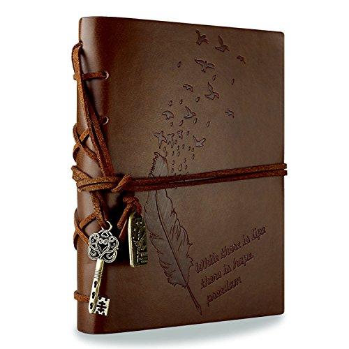Rymall Notitieboek van leer in klassieke vintage-retrostijl, ideaal als reisdagboek, bruin