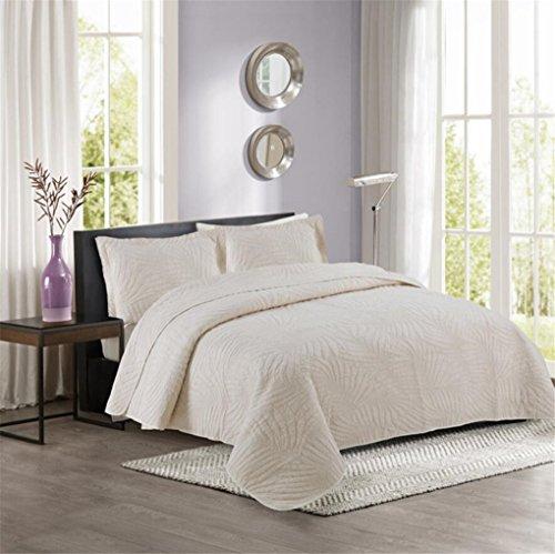 LMXJB 100% katoen Super Soft handgemaakte gewatteerde sprei, kniedeken airconditioning quilt 1 bed Quilt 2 kussensloop [Queen/King/Double] 230 * 250cm beige