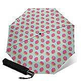 Doughnuts - Paraguas plegable de viaje automático triple plegable para sol y lluvia