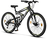 Licorne Bike Bicicleta de montaña Strong 2D, para niños, niñas, mujeres y hombres, freno de disco delantero y trasero, 21 velocidades, suspensión completa, negro/lima, 27,5 pulgadas