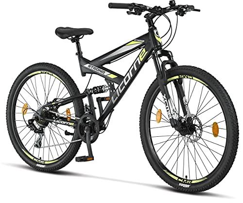 Licorne Bike Strong 2D Premium Mountain Bike Bicicletta per ragazzi, ragazze, donne e uomini – Freno a disco anteriore e posteriore – 21 marce – Sospensione completa (nero/lime, 27,5)