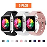 Correa Apple Watch 3 Paquetes, Correas Compatible con Apple Watch 38mm 42mm 40mm 44mm, Soft Silicone...