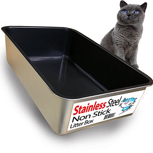 iPrimio Cat Litter Box Non-Stick Plated Stainless Steel XL Litter Pan