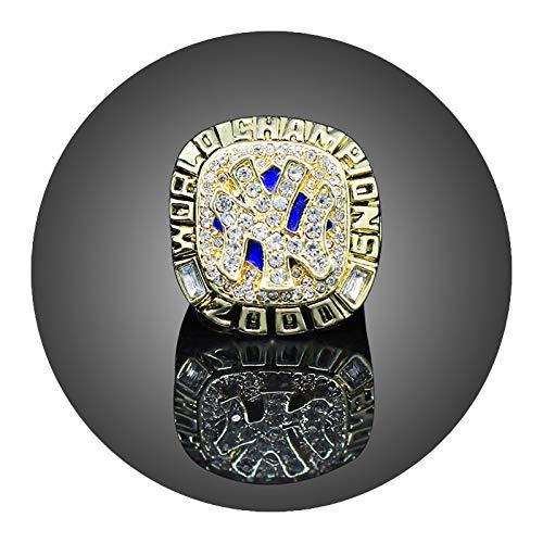 Galvanisierter Zirkon Ring 2000 von Herren 2000 New York Yankees Baseball-Meisterschaft Replik-Ring für Fans Replica-Geschenksammlung mit Anzeigekoffer