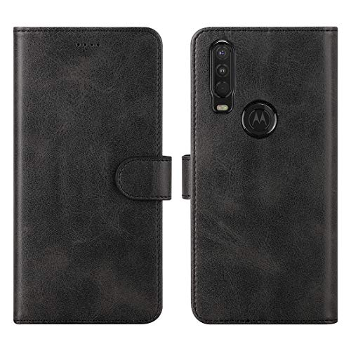 DDJTECH Moto One Action Case Cover Flip TPU&PU Leather Case with Kickstand, Multi-Function Magnetic Suction Strong Closure Wallet Phone Case Cover for Moto One Action (Black)