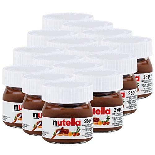 FERRERO Nutella Botes de Nutella en miniatura de cristal, set de 15 unidades de 25 g, crema de avellanas y chocolate para untar