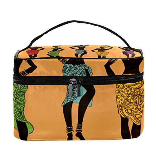 Neceser de Maquillaje Estuche Escolar para Cosméticos Bolsa de Aseo Grande Frutas Coloridas Mujeres africanas