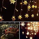 LED Lichtervorhang Lichter, LED Lichterkette, Weihnachtsbeleuchtung, 93er LED Lichtervorhang Lang Schneeflocke LED String Licht, Innen/Außen Weihnachtsdeko Deko Christmas 3.5 x 0.8 m - 3