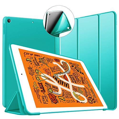 iPad Mini 5 ケース 2019 超薄型 超軽量 TPU ソフトスマートカバー オートスリープ機能 衝撃吸収 キズ防止 三つ折りスタンド iPad Mini5(第五世代) 専用 ーミントグリーン