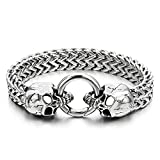 COOLSTEELANDBEYOND Gothic Mens Stainless Steel Skull Franco Link Curb Chain Bracelet with Spring Ring Clasp 8.5 Inches