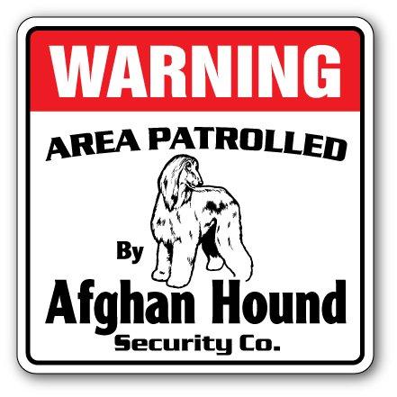 Afghan Hound Security Sign Area Patrolled pet Dog Lover Groomer Breeder Vet