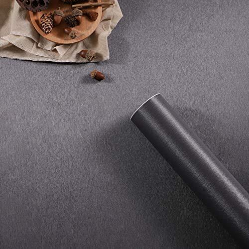 Carta da parati autoadesiva in vinile spazzolato metallizzato, in acciaio inox, per frigorifero, lavastoviglie, fornelli, elettrodomestici, mobili da cucina (grigio scuro, 40cm x 3m)
