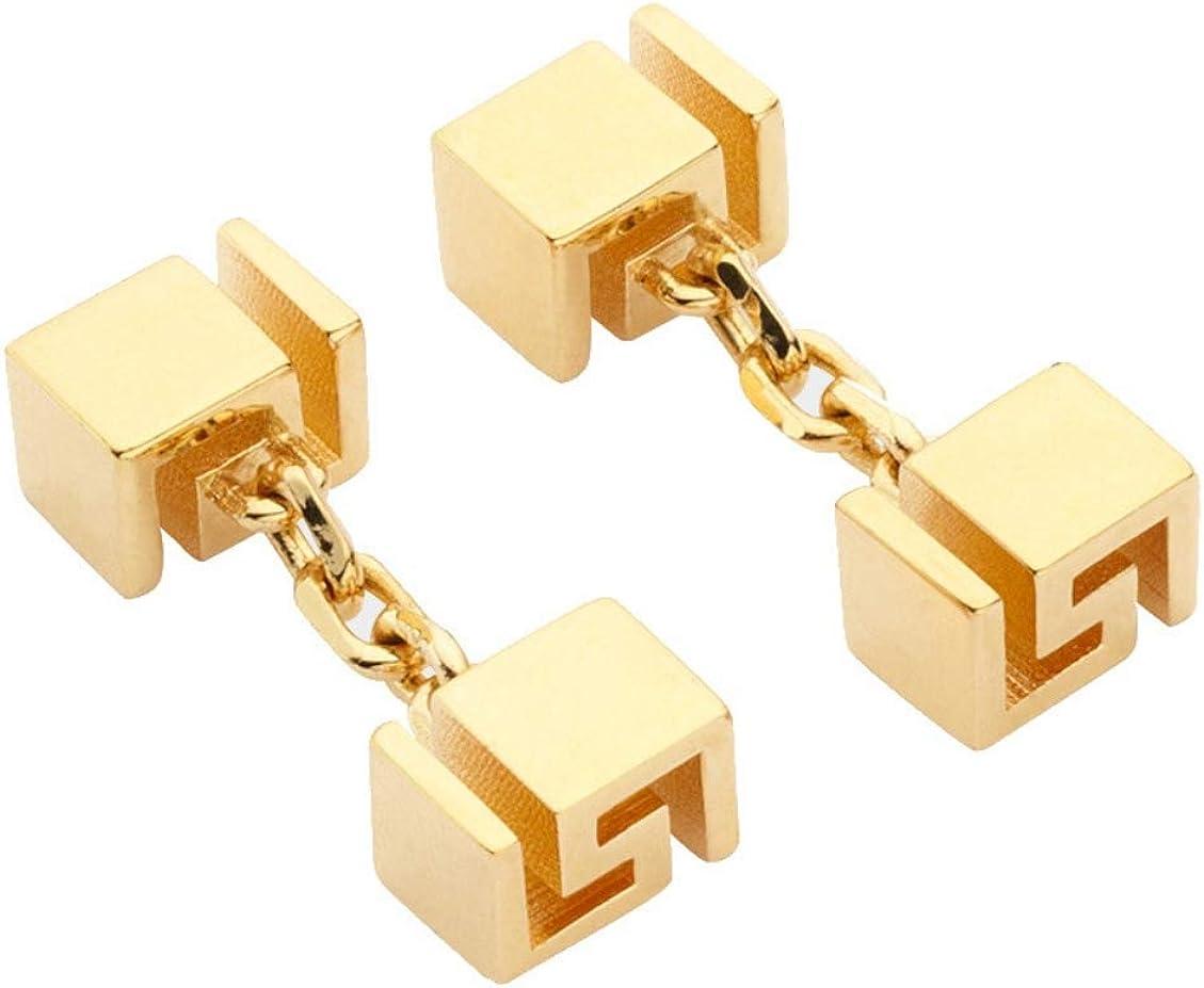VERSACE Gemelos de oro para hombre con llave griega