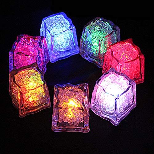 GozzZ 12 Stück Party Deko LED Eiswürfel Licht Multi Farbe wechselnde LED Eiswürfel Flüssigsensor Blinken LED Glow Light für Bar Club Trinken Wein Hochzeit Party Champagner Tower Dekoration