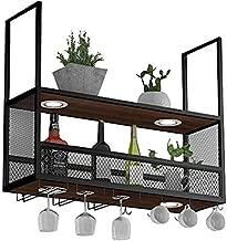 Wine lovers Bar furniture& Wine Shelf with Glass Holder (with Spotlights) / Metal Ceiling Mounted Hanging Wine Holder / Wooden Wine Bottle Holder / Suspended Wine Glass Holder (Black) (Size : 100 ;30