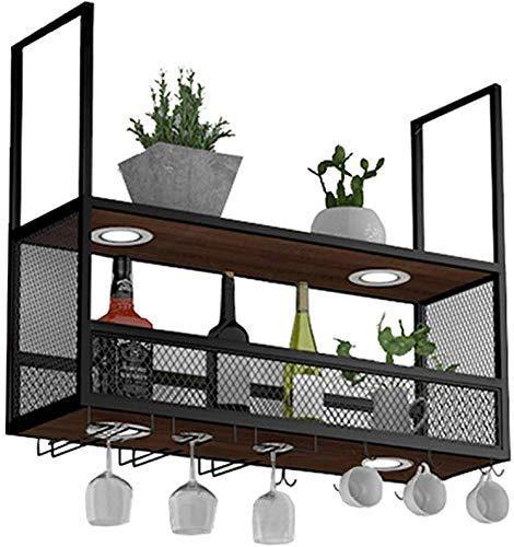 Wijnliefhebber barmeubel & wijnrek met glashouder (met lampen), metaal gemonteerde plafond voor het ophangen van wijn / wijnflessenhouder van hout / hanger wijnhouder D