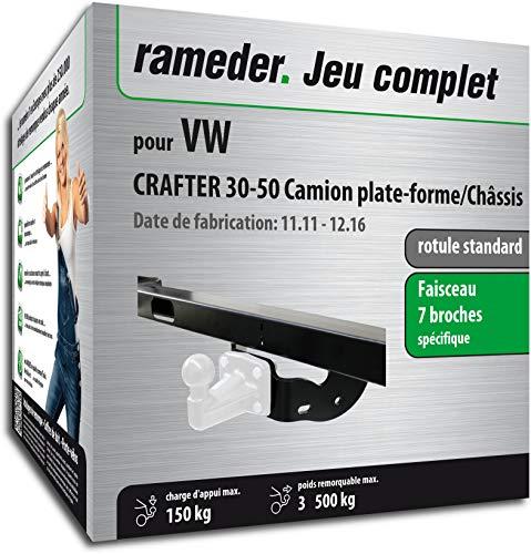 Rameder Pack, attelage rotule Standard 4 Trous livrée sans rotule + Faisceau 7 Broches Compatible avec VW Crafter 30-50 Camion Plate-Forme/Châssis (153610-05530-2-FR).
