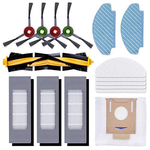KEEPOW 16 Stück Ersatzteile Zubehör Set für Ecovacs Deebot OZMO T8 AIVI, T8+ Staubsauger Roboter,(1 Hauptbürste + 3 Filter + 4 Seitenbürste + 2 Mops + 1 Staubbeutel+ 5 Einweghandtücher)