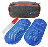HEALUA Trousse Diabetique - Pochette Isotherme Insuline avec 2 pochette gel froid, 1 Thermomètre & 1 sac à aiguille insuline usagée - Sac Isotherme Medicament Special Diabete - Gris